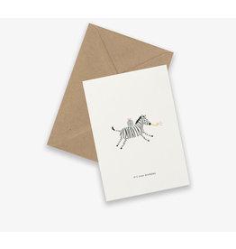 Kartotek Wenskaart - Birthday zebra- Dubbele kaart en Enveloppe - A6