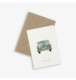 Kartotek Wenskaart - Wedding car- Dubbele kaart en Enveloppe - A6