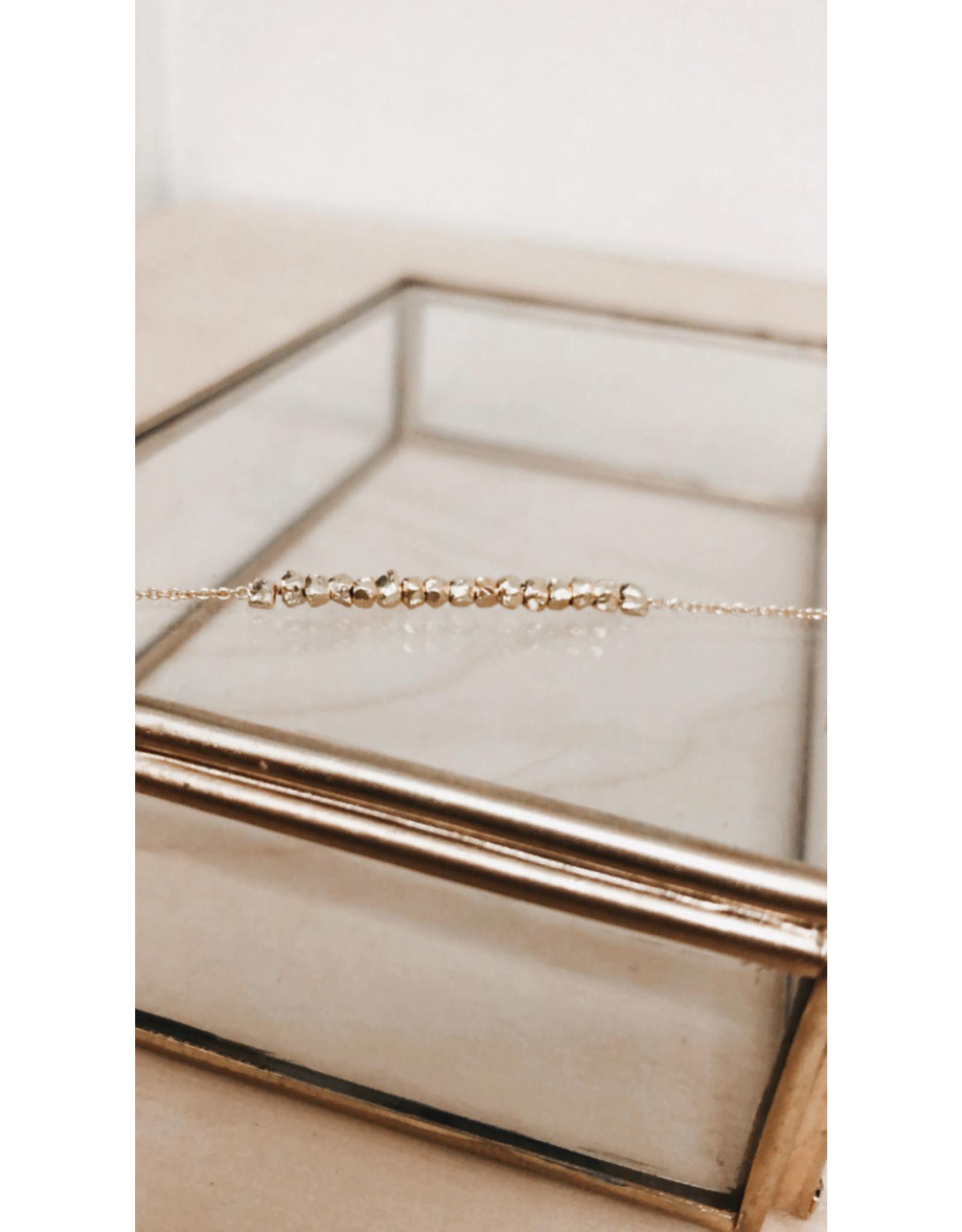 Rose Marie Paris Armband - Grove Gouden Parels  - Lengte 17 cm