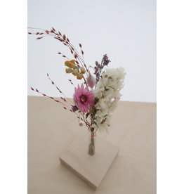 Mus in een Plas Zeg dank u met een bloemetje - Droogbloemen met houten display - 8 x 8 x 17,5
