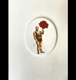 Lylies Ovaal Paneeltje - Sterke man en anjer - Porselein - 10 x 12 cm