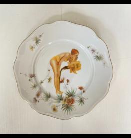 Lylies Wit bordje - Dame tussen den bloemen - Porselein - Ø 22 cm