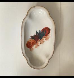 Lylies Klein Ovaal Schaaltje - Vier Dameshoofdjes - Porselein - 14,5 x 26 cm