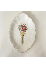 Lylies Grote Ovalen Schaal - Vrouw Floral en golvende gouden rand - Porselein - 22,5 x 33 cm