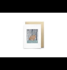 Petit Gramme Wenskaart, L'Ours - Dubbele kaart + Envelop - 11,5 x 16,5 - Blanco