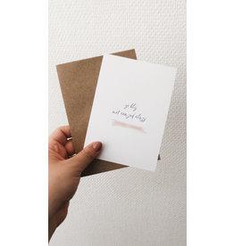 Mus in een Plas Wenskaart - Zo blij met een juf als jij - Postkaart en Enveloppe - A6