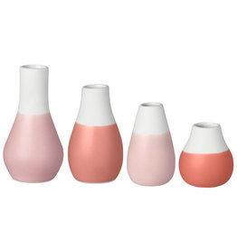 Raeder Plukselvaasjes Roze - set v 4 - hoogte 4 - 8 cm