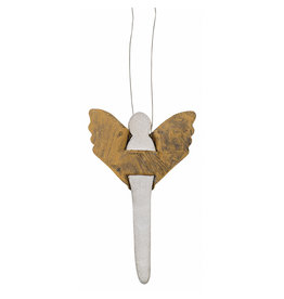 Raeder Bescherm engel - hanger - metaal - 7cm x 4cm