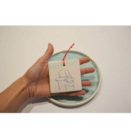 Kesemy design Tegel - Knuffel - Keramiek - 8 x 8 cm - Handgemaakt