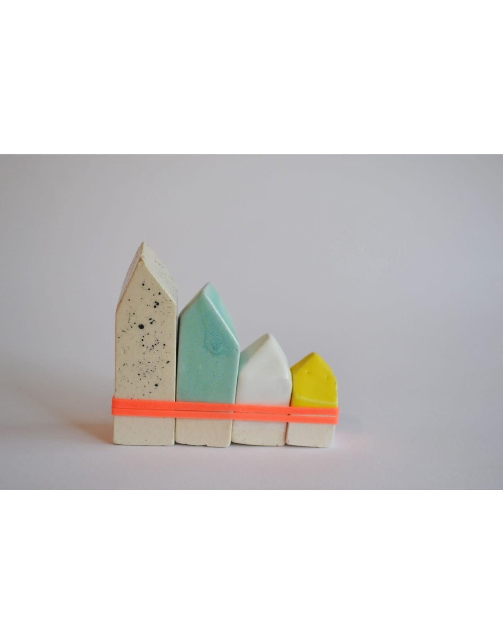 Kesemy design Amsterdamse Huisjes - Keramiek - 8 x 6 cm - Handgemaakt - Uniek
