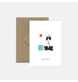 Pink Cloud Studio Wenskaart - Hip Hip Hooray - Dubbele Kaart met envelop - blanco