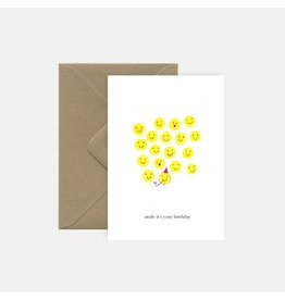 Pink Cloud Studio Wenskaart - Smiley's - Dubbele Kaart met envelop - Blanco