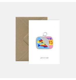 Pink Cloud Studio Wenskaart - Sardines - Dubbele Kaart met envelop - blanco