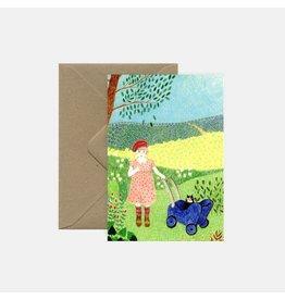 Pink Cloud Studio Wenskaart - Girl in Garden - Postkaart met envelop