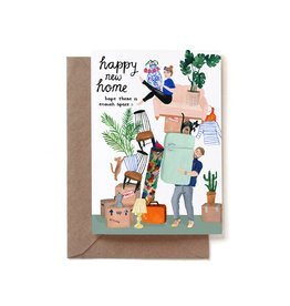 Reddish Design Wenskaart - Happy New Home Moving - Dubbele kaart + Envelope - 10 x 15cm