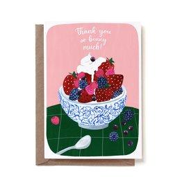 Reddish Design Wenskaart - Thank You Berry Much - Dubbele kaart + Envelope - 10 x 15cm