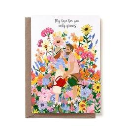 Reddish Design Wenskaart - Love Grow - Dubbele kaart + Envelope - 10 x 15cm