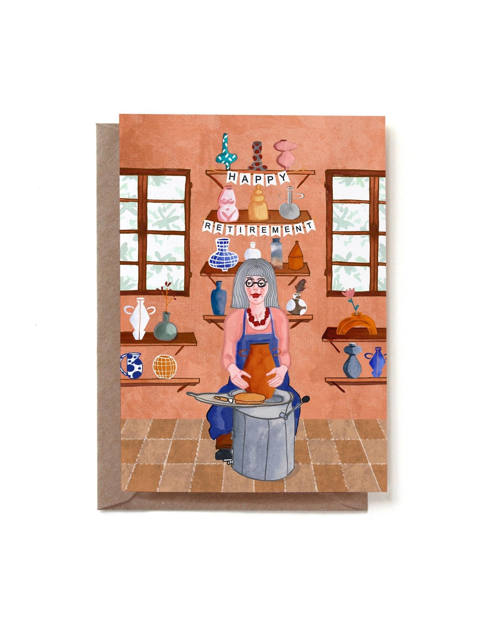 Reddish Design Wenskaart - Happy Retirement woman - Dubbele kaart + Envelope - 10 x 15cm