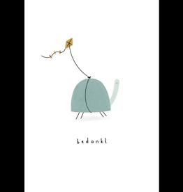 Klein liefs Wenskaart - Schildpad, Bedankt - Dubbele kaart + Envelop - 11,5 x 16,5 - Blanco