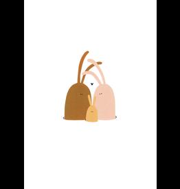 Klein liefs Wenskaart - Gezinnetje van konijntjes - Dubbele kaart + Envelop