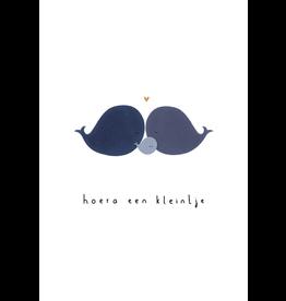 Klein liefs Wenskaart - Hoera een kleintje, Walvis  - Dubbele kaart + Envelop - 11,5 x 16,5 - Blanco