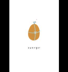 Klein liefs Wenskaart - Zwanger, Ei- Dubbele kaart + Envelop - 11,5 x 16,5 - Blanco