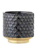 Bloomingville Bloempot Earl - Blauw - Honingraatontwerp met gouden bodem- Steen - Ø 10 x H 10 cm