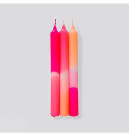 Pink Stories Kaars - Dip Dye Neon - Flamingo Dreams - 3st - Ø 2,2 x 18 cm