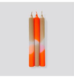 Pink Stories Kaars - Dip Dye Neon - Papaya sand - 3st - Ø 2,2 x 21 cm