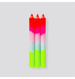 Pink Stories Kaars- Dip Dye Neon - Lollypop trees - 3st - Ø 2,2 x 18 cm