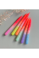 Pink Stories Kaars- Dip Dye Neon Twisted - Shades of Fruit - 3st - Ø 2,2 x 23 cm