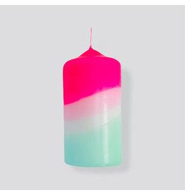 Pink Stories Kaars - Blokkaars - Dip Dye Neon - Peppermint towers - Ø 5,8 x 13 cm