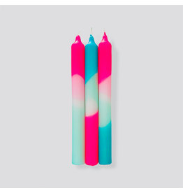Pink Stories Kaars - Dip Dye Neon - Peppermint Clouds - 3st - Ø 2,2 x 18 cm
