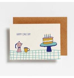 Hello August Wenskaart - Happy Cake Day - Postkaart + enveloppe- A6 - Blanco