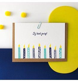 Hello August Wenskaart - Jij bent jarig! - Postkaart + enveloppe- A6 - Blanco