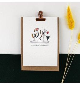 Hello August Wenskaart - Geniet van de kleine dingen  - Postkaart + enveloppe- A6 - Blanco