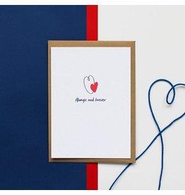 Hello August Wenskaart - Always and Forever - Postkaart + enveloppe- A6 - Blanco