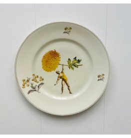 Lylies Groot rond Bord - Krachtpatser en Chrysant - Porselein - Ø 26 cm