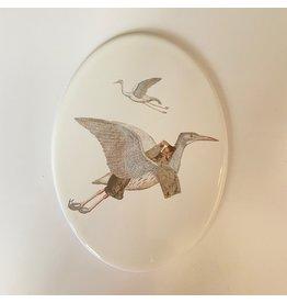 Lylies Porseleinen Ovaal Paneeltje - Meisje kimono en kraanvogels + Gouden Houder - 11 x 15