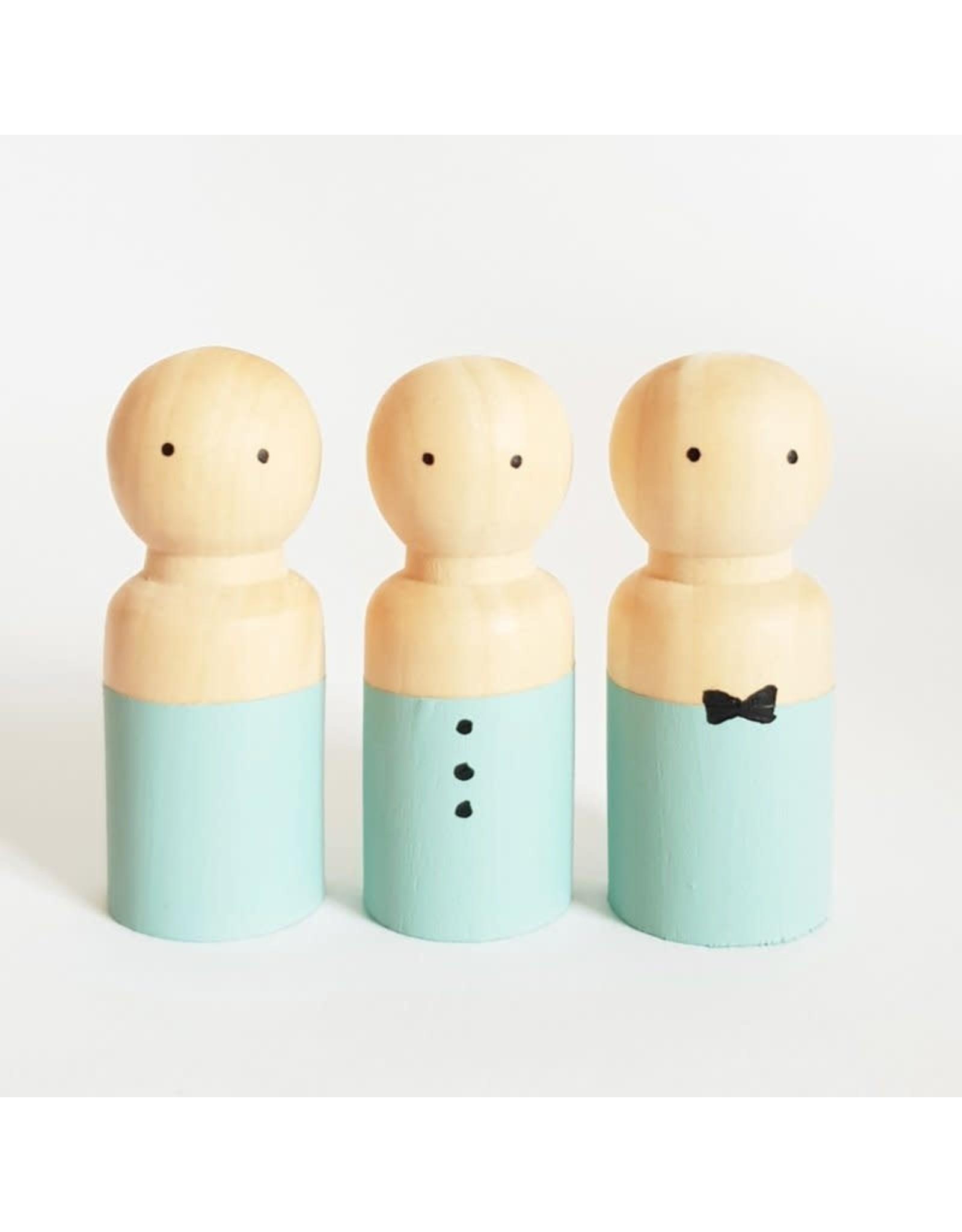 Sweet Petite Jolie BASIC Houten Popje Man/Jongen - Turquoise