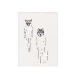 Nakke Van Loo Wenskaart - Wolven,  ik Wolf je graag - Postkaart + Melkomslag