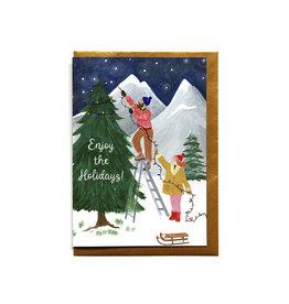 Reddish Design Wenskaart - Kerst - Enjoy the holidays - Dubbele kaart + Envelope - 10 x 15cm