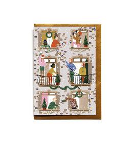 Reddish Design Wenskaart - Kerst - Dinner with friends - Dubbele kaart + Envelope - 10 x 15cm