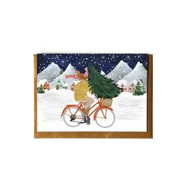Reddish Design Wenskaart - Kerst - Christmas tree on bike - Dubbele kaart + Envelope - 10 x 15cm