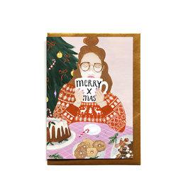 Reddish Design Wenskaart - Kerst - Christmas girl with mug- Dubbele kaart + Envelope - 10 x 15cm