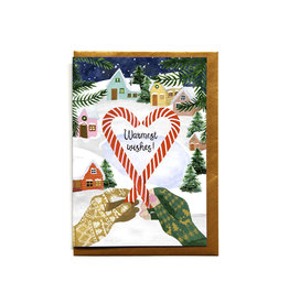 Reddish Design Wenskaart - Kerst - Candy Gloves - Dubbele kaart + Envelope - 10 x 15cm