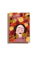 Reddish Design Wenskaart - Thinking of You flowers -  Dubbele kaart + Enveloppe - A6