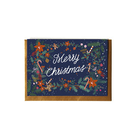 Reddish Design Wenskaart - Kerst - Christmas wreath text - Dubbele kaart + Envelope - 10 x 15cm
