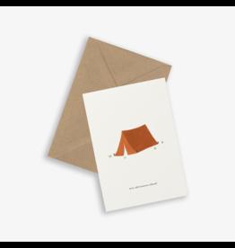 Kartotek Wenskaart - Tent - Dubbele kaart en Enveloppe - A6