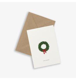 Kartotek Wenskaart - Kerst - Christmas Wreath - Dubbele kaart en Enveloppe - A6